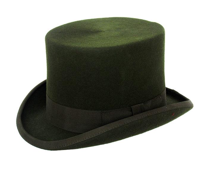 Dark Green Wool Top Hat - Denton Hats 9b92807d6d6
